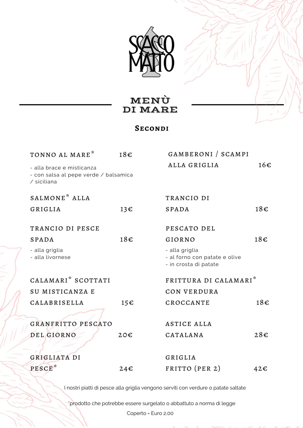 Menù pizzeria Torino